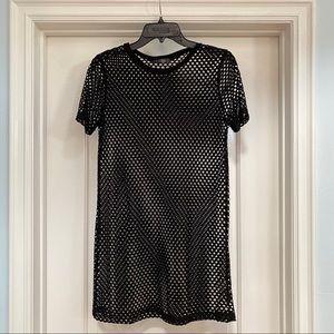 J Story Mesh T-shirt Black Dress Size Small